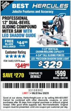 "Harbor Freight Coupon HERCULES PROFESSIONAL 12"" DOUBLE-BEVEL SLIDING MITER SAW Lot No. 63978/56682 Expired: 2/8/20 - $329"