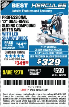 "Harbor Freight Coupon HERCULES PROFESSIONAL 12"" DOUBLE-BEVEL SLIDING MITER SAW Lot No. 63978/56682 Expired: 2/17/20 - $329.99"