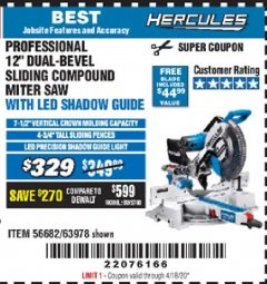 "Harbor Freight Coupon HERCULES PROFESSIONAL 12"" DOUBLE-BEVEL SLIDING MITER SAW Lot No. 63978/56682 Valid: 2/18/20 - 4/18/20 - $329"
