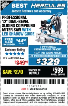 "Harbor Freight Coupon HERCULES PROFESSIONAL 12"" DOUBLE-BEVEL SLIDING MITER SAW Lot No. 63978/56682 Expired: 3/31/20 - $329"
