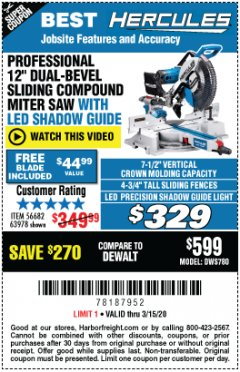 "Harbor Freight Coupon HERCULES PROFESSIONAL 12"" DOUBLE-BEVEL SLIDING MITER SAW Lot No. 63978/56682 Expired: 3/15/20 - $329"