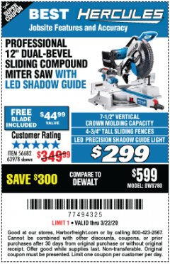 "Harbor Freight Coupon HERCULES PROFESSIONAL 12"" DOUBLE-BEVEL SLIDING MITER SAW Lot No. 63978/56682 Expired: 3/22/20 - $299"
