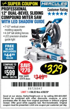 "Harbor Freight Coupon HERCULES PROFESSIONAL 12"" DOUBLE-BEVEL SLIDING MITER SAW Lot No. 63978/56682 Valid Thru: 4/30/20 - $329"
