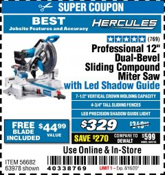 "Harbor Freight Coupon HERCULES PROFESSIONAL 12"" DOUBLE-BEVEL SLIDING MITER SAW Lot No. 63978/56682 Expired: 8/16/20 - $329"