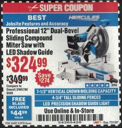 "Harbor Freight Coupon HERCULES PROFESSIONAL 12"" DOUBLE-BEVEL SLIDING MITER SAW Lot No. 63978/56682 Expired: 7/31/20 - $324.99"