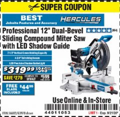 "Harbor Freight Coupon HERCULES PROFESSIONAL 12"" DOUBLE-BEVEL SLIDING MITER SAW Lot No. 63978/56682 Expired: 9/21/20 - $319.99"