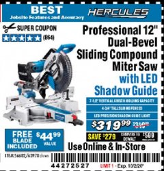 "Harbor Freight Coupon HERCULES PROFESSIONAL 12"" DOUBLE-BEVEL SLIDING MITER SAW Lot No. 63978/56682 Expired: 10/2/20 - $319.99"