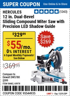 "Harbor Freight Coupon HERCULES PROFESSIONAL 12"" DOUBLE-BEVEL SLIDING MITER SAW Lot No. 63978/56682 Expired: 12/31/20 - $329.99"