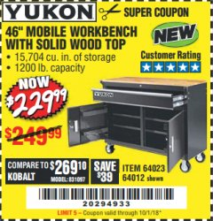"Harbor Freight Coupon YUKON 46"" MOBILE WORKBENCH WITH SOLID WOOD TOP Lot No. 64023/64012 Expired: 10/1/18 - $229.99"