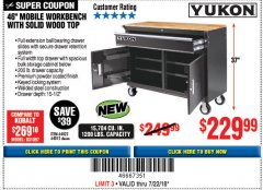 "Harbor Freight Coupon YUKON 46"" MOBILE WORKBENCH WITH SOLID WOOD TOP Lot No. 64023/64012 Expired: 7/22/18 - $229.99"