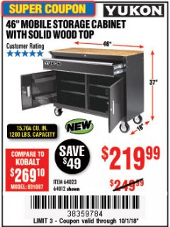 "Harbor Freight Coupon YUKON 46"" MOBILE WORKBENCH WITH SOLID WOOD TOP Lot No. 64023/64012 Expired: 10/1/18 - $219.99"