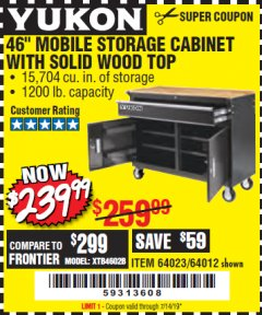 "Harbor Freight Coupon YUKON 46"" MOBILE WORKBENCH WITH SOLID WOOD TOP Lot No. 64023/64012 Expired: 7/14/19 - $239.99"