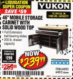 "Harbor Freight Coupon YUKON 46"" MOBILE WORKBENCH WITH SOLID WOOD TOP Lot No. 64023/64012 Expired: 5/31/19 - $239.99"