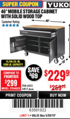 "Harbor Freight Coupon YUKON 46"" MOBILE WORKBENCH WITH SOLID WOOD TOP Lot No. 64023/64012 Expired: 5/20/19 - $229.99"