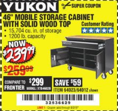 "Harbor Freight Coupon YUKON 46"" MOBILE WORKBENCH WITH SOLID WOOD TOP Lot No. 64023/64012 Expired: 9/3/19 - $239.99"