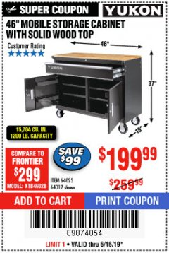 "Harbor Freight Coupon YUKON 46"" MOBILE WORKBENCH WITH SOLID WOOD TOP Lot No. 64023/64012 Expired: 6/16/19 - $199.99"