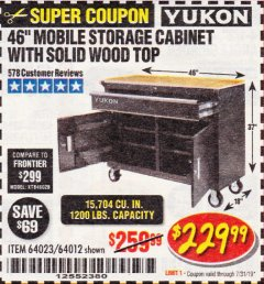 "Harbor Freight Coupon YUKON 46"" MOBILE WORKBENCH WITH SOLID WOOD TOP Lot No. 64023/64012 Expired: 7/31/19 - $229.99"