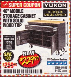 "Harbor Freight Coupon YUKON 46"" MOBILE WORKBENCH WITH SOLID WOOD TOP Lot No. 64023/64012 Expired: 8/31/19 - $229.99"