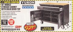 "Harbor Freight Coupon YUKON 46"" MOBILE WORKBENCH WITH SOLID WOOD TOP Lot No. 64023/64012 Expired: 11/30/19 - $229.99"