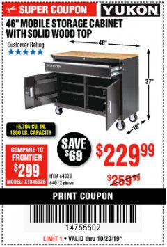 "Harbor Freight Coupon YUKON 46"" MOBILE WORKBENCH WITH SOLID WOOD TOP Lot No. 64023/64012 Expired: 10/20/19 - $229.99"