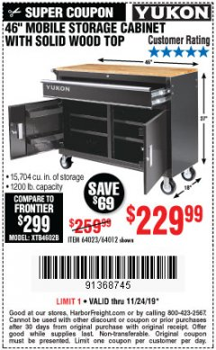 "Harbor Freight Coupon YUKON 46"" MOBILE WORKBENCH WITH SOLID WOOD TOP Lot No. 64023/64012 Expired: 11/24/19 - $229.99"