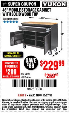 "Harbor Freight Coupon YUKON 46"" MOBILE WORKBENCH WITH SOLID WOOD TOP Lot No. 64023/64012 Expired: 10/27/19 - $229.99"