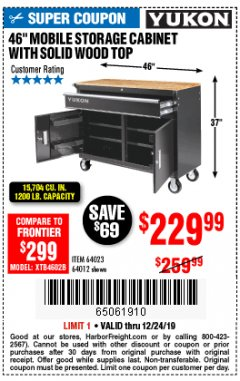 "Harbor Freight Coupon YUKON 46"" MOBILE WORKBENCH WITH SOLID WOOD TOP Lot No. 64023/64012 Expired: 12/24/19 - $229.99"