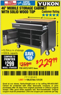 "Harbor Freight Coupon YUKON 46"" MOBILE WORKBENCH WITH SOLID WOOD TOP Lot No. 64023/64012 Expired: 1/31/20 - $229.99"