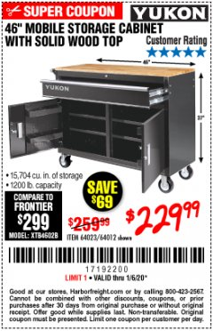 "Harbor Freight Coupon YUKON 46"" MOBILE WORKBENCH WITH SOLID WOOD TOP Lot No. 64023/64012 Expired: 1/6/20 - $229.99"