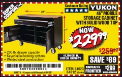"Harbor Freight Coupon YUKON 46"" MOBILE WORKBENCH WITH SOLID WOOD TOP Lot No. 64023/64012 Expired: 6/30/20 - $229.99"
