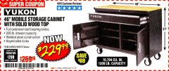 "Harbor Freight Coupon YUKON 46"" MOBILE WORKBENCH WITH SOLID WOOD TOP Lot No. 64023/64012 Expired: 3/31/20 - $229.99"