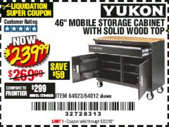 "Harbor Freight Coupon YUKON 46"" MOBILE WORKBENCH WITH SOLID WOOD TOP Lot No. 64023/64012 Expired: 6/30/20 - $239.99"