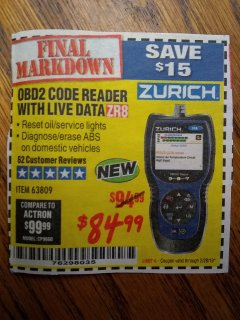 Harbor Freight Coupon ZURICH OBD2 CODE READER WITH LIVE DATA ZR8 Lot No. 63809 Expired: 2/28/19 - $84.99