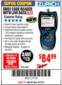 Harbor Freight Coupon ZURICH OBD2 CODE READER WITH LIVE DATA ZR8 Lot No. 63809 Expired: 4/1/19 - $84.99