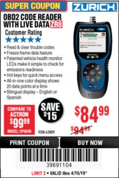 Harbor Freight Coupon ZURICH OBD2 CODE READER WITH LIVE DATA ZR8 Lot No. 63809 Expired: 4/30/19 - $84.99