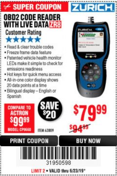 Harbor Freight Coupon ZURICH OBD2 CODE READER WITH LIVE DATA ZR8 Lot No. 63809 Expired: 6/23/19 - $79.99