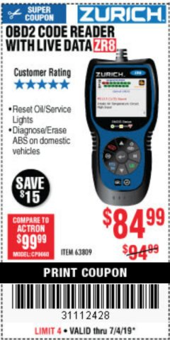 Harbor Freight Coupon ZURICH OBD2 CODE READER WITH LIVE DATA ZR8 Lot No. 63809 Expired: 7/4/19 - $84.99