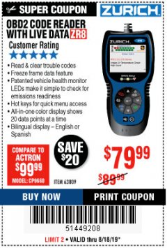 Harbor Freight Coupon ZURICH OBD2 CODE READER WITH LIVE DATA ZR8 Lot No. 63809 Expired: 8/18/19 - $79.99