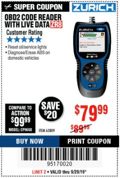 Harbor Freight Coupon ZURICH OBD2 CODE READER WITH LIVE DATA ZR8 Lot No. 63809 Expired: 9/29/19 - $79.99
