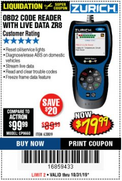 Harbor Freight Coupon ZURICH OBD2 CODE READER WITH LIVE DATA ZR8 Lot No. 63809 Expired: 10/31/19 - $79.99
