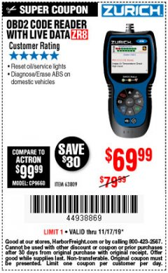 Harbor Freight Coupon ZURICH OBD2 CODE READER WITH LIVE DATA ZR8 Lot No. 63809 Expired: 11/17/19 - $69.99