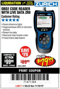 Harbor Freight Coupon ZURICH OBD2 CODE READER WITH LIVE DATA ZR8 Lot No. 63809 Expired: 11/10/19 - $79.99