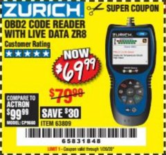 Harbor Freight Coupon ZURICH OBD2 CODE READER WITH LIVE DATA ZR8 Lot No. 63809 Expired: 1/26/20 - $69.99