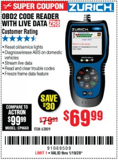 Harbor Freight Coupon ZURICH OBD2 CODE READER WITH LIVE DATA ZR8 Lot No. 63809 Expired: 1/19/20 - $69.99