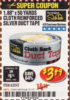 "Harbor Freight Coupon 1.88"" X 50 YARDS CLOTH REINFORCED SILVER DUCT TAPE Lot No. 63242 Expired: 7/31/19 - $3.49"