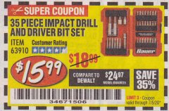 Harbor Freight Coupon 35 PIECE IMPACT DRILL AND DRIVER BIT SET Lot No. 63910 EXPIRES: 7/5/20 - $15.99