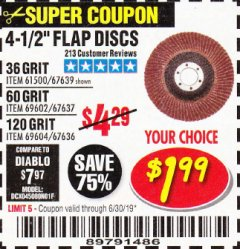 Harbor Freight Coupon 4-1/2 IN. 36 GRIT FLAP DISC Lot No. 61500 Expired: 6/30/19 - $1.99
