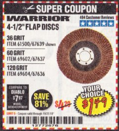 Harbor Freight Coupon 4-1/2 IN. 36 GRIT FLAP DISC Lot No. 61500 Expired: 10/31/19 - $1.49