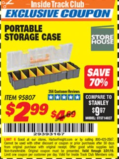 Harbor Freight ITC Coupon 9 BIN PORTABLE STORAGE CASE Lot No. 95807 Expired: 3/31/19 - $2.99