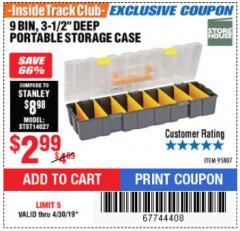 Harbor Freight ITC Coupon 9 BIN PORTABLE STORAGE CASE Lot No. 95807 Expired: 4/30/19 - $2.99